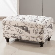 Traditional Paris Vintage French Writing Button Tufted Wood Storage Bedroom Bench by Bellasario Collection