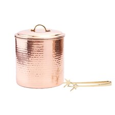 3 Qt. Hammered Decor Ice Bucket with Liner and Tongs
