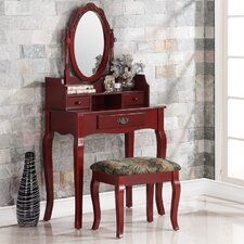 Ribbon Wood Makeup Vanity Set with Mirror by Roundhill Furniture