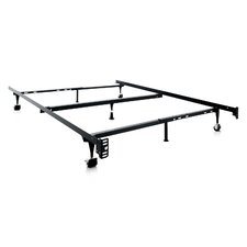 Heavy Duty 7-Leg Adjustable Metal Bed Frame with Center Support and Rug Roller by Malouf