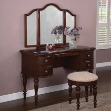 Gonson Marquis Cherry Vanity Set with Mirror by Alcott Hill®