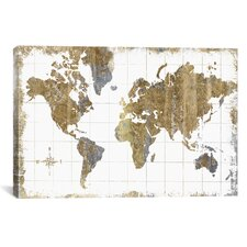 Gilded Map Graphic Art on Wrapped Canvas
