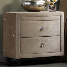 Diamond 2 Drawer Nightstand by Meridian Furniture USA