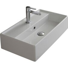 """Teorema 16.14"""" Rectangular Ceramic Wall Mounted Sink with Overflow"""