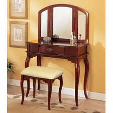 Livingston 3-Piece Vanity Set with Trifold Mirror by Charlton Home®