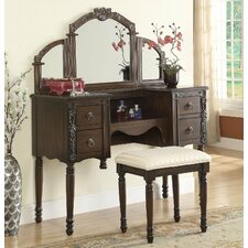 Makeup Vanity Set with Mirror by Infini Furnishings