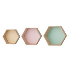 3 Piece Hexagonal Wood Shelf Set