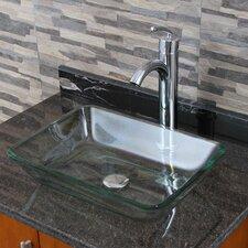 Elite Rectangular Tempered Glass Vessel Bathroom Sink