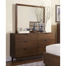 Mid Mod 6 Drawer Dresser with Mirror by Corrigan Studio®