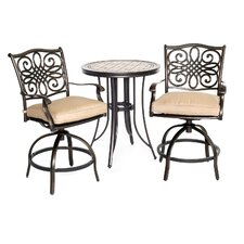 Monaco 3 Piece Bistro Set with Cushions by Hanover