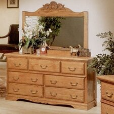 Country Heirloom 7 Drawer Dresser with Mirror by Bebe Furniture