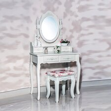 Cleopatra 4 Drawer Vanity Set with Mirror by White Label Co.