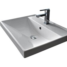 ML Square Ceramic Self Rimming Bathroom Sink with Overflow