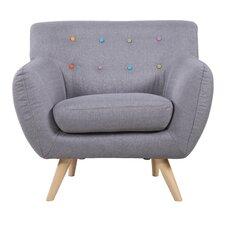 Mid Century Modern Tufted Fabric Club Chair