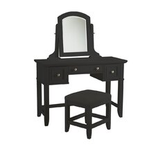 Marblewood Three Drawer Vanity Set with Mirror by Alcott Hill®