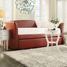 Burlington Daybed with Trundle in Wine Red by Three Posts