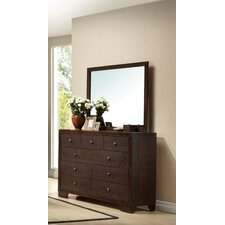 Madison 9 Drawer Double Dresser with Mirror by ACME Furniture