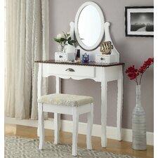 Interhyp Wooden Vanity Set with Mirror by Roundhill Furniture