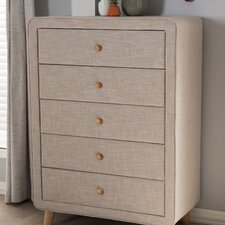 Tito Mid-Century Upholstered 5 Drawer Chest by Wholesale Interiors