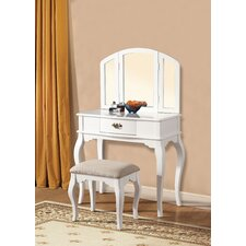Maren White Vanity Set with Mirror by A&J Homes Studio