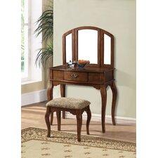 Marane Oak Vanity Set with Mirror by A&J Homes Studio