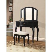 Marane Black Vanity Set with Mirror by A&J Homes Studio