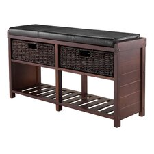 Bliven Cushion Storage Bench with Basket by Charlton Home®