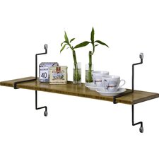 Single Bamboo Shelf with Straight Brackets