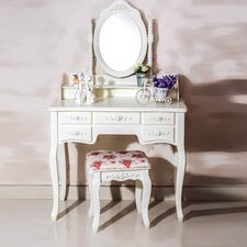 Cleopatra 7 Drawer Vanity Set with Mirror by White Label Co.