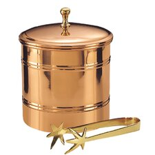 Decor Lined Ice Bucket with Brass Tong
