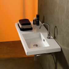 """Condal 39.37"""" Rectangular Ceramic Wall Mounted Sink with Overflow"""