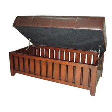 Wooden Storage Bench with Faux Leather Cushion by ORE Furniture