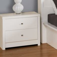 Calla Tall White 2 Drawer Nightstand by Prepac