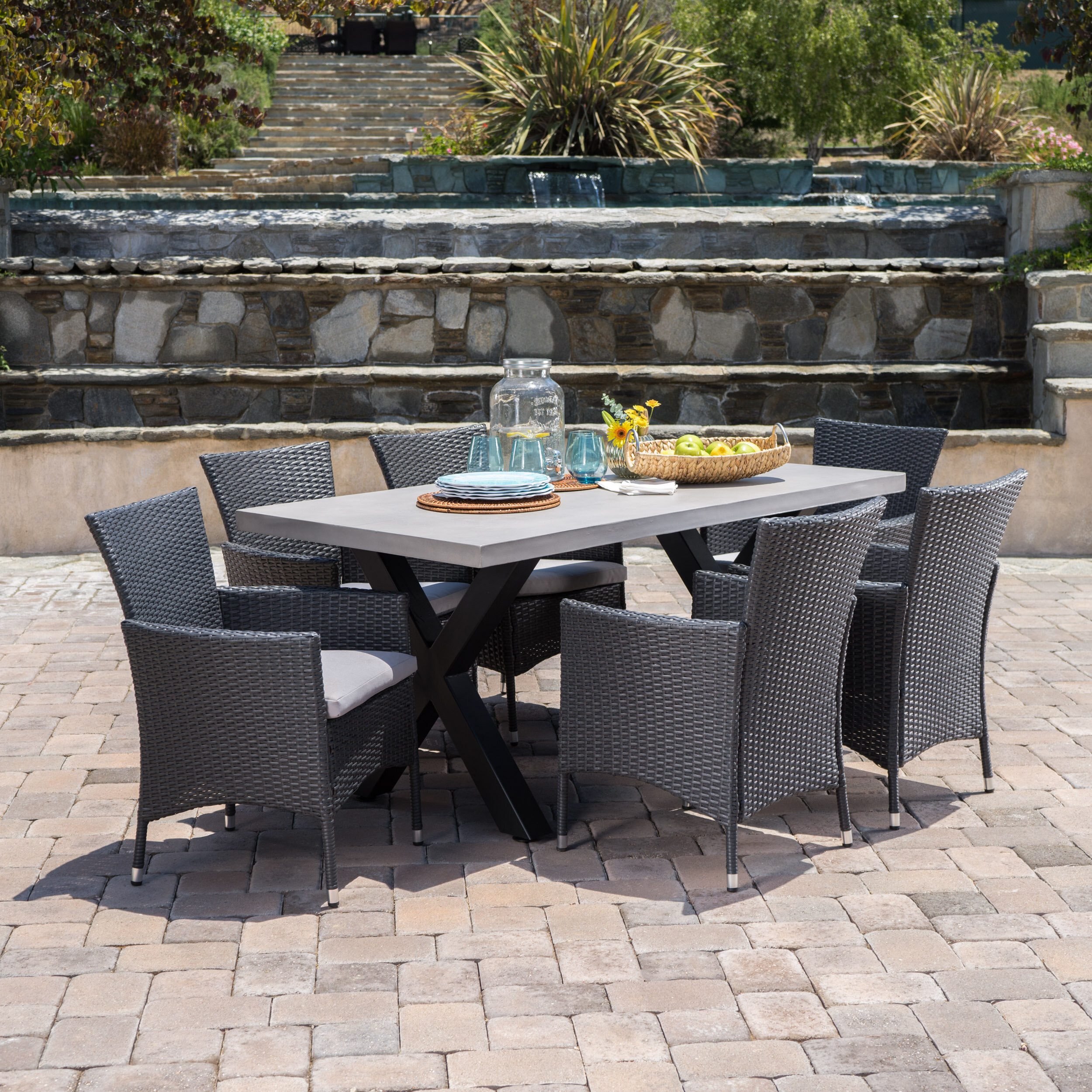 17 Stories Advika Outdoor 7 Piece Dining Set With Cushions Reviews Wayfair