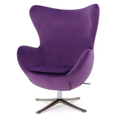 Brayden Studio Fleischman Swivel Balloon Chair Upholstery: Eggplant