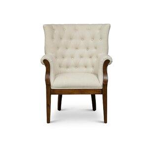 One Allium Way Blanca Fabric Upholstered Wooden Armchair