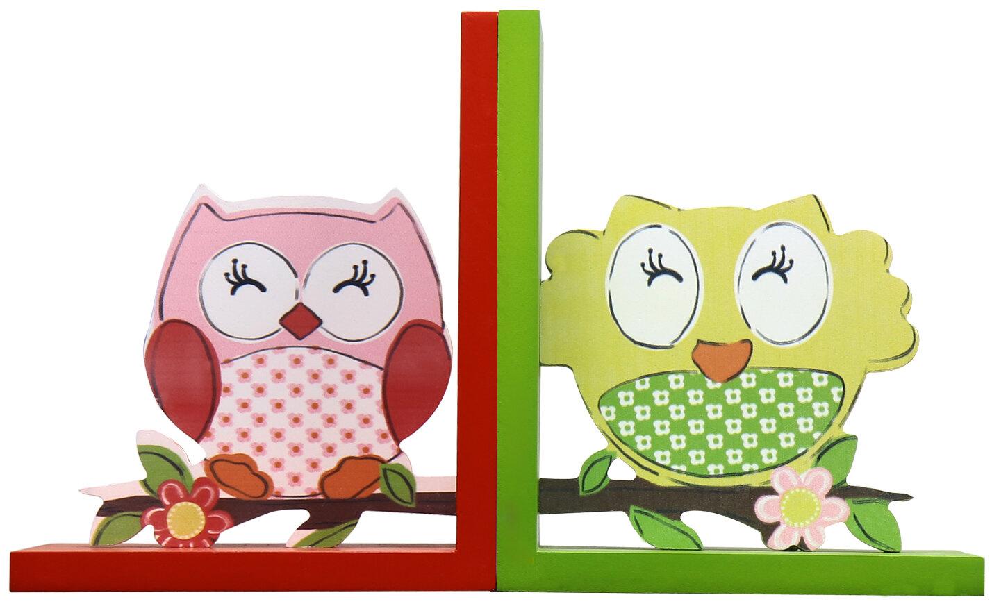 AdecoTrading Decorative Children\'s 2 Owls Wood Book Ends   Wayfair