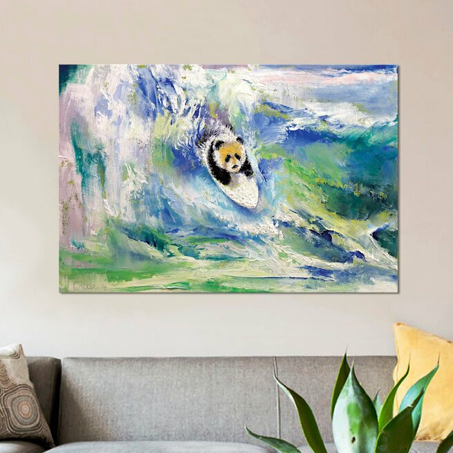 East Urban Home Panda Surfer Painting On Wrapped Canvas Wayfair