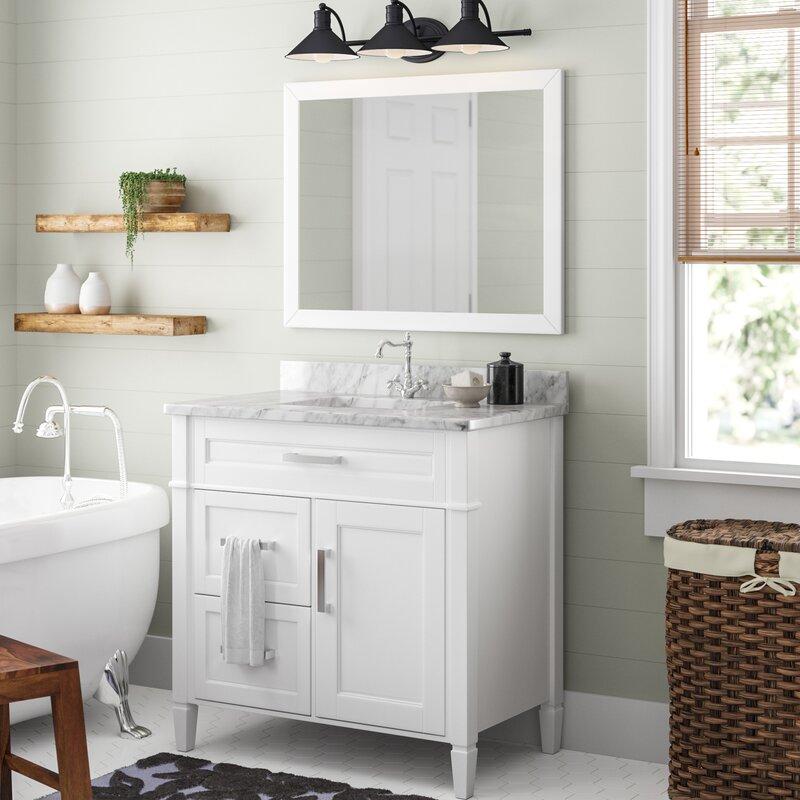 Gracie Oaks Lachine Marble 36 Single Bathroom Vanity With Mirror