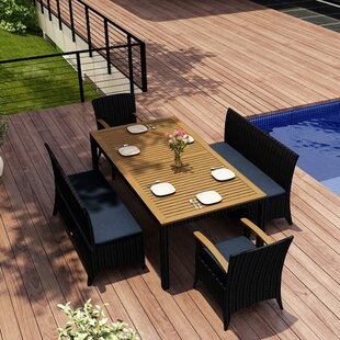 Holbrook 5 Piece Teak Dining Set with Sunbrella Cushions by Rosecliff Heights