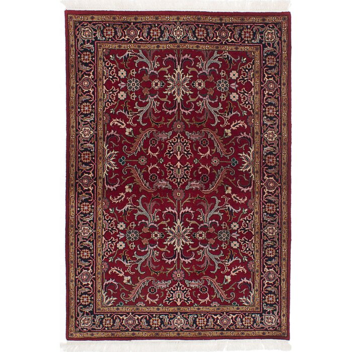 One Of A Kind Royal Kashan Hand Knotted Dark Red Area Rug