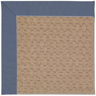 Lisle Machine Tufted Azure/Brown Indoor/Outdoor Area Rug