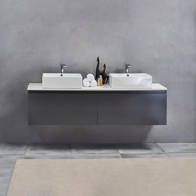 Orren Ellis Glaude 71 Double Wall Mounted Double Bathroom Vanity Set Wayfair