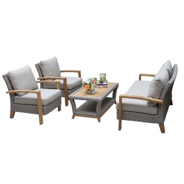 Genial Dillard 4 Piece Teak Sofa Set With Cushions