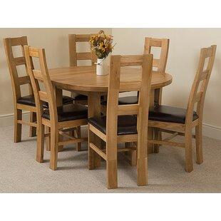 Soejima Solid Oak Dining Set With 6 Yale Chairs By Rosalind Wheeler