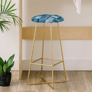 The Old Art Studio Torn Lines Abstract 31 Bar Stool by East Urban Home Discount