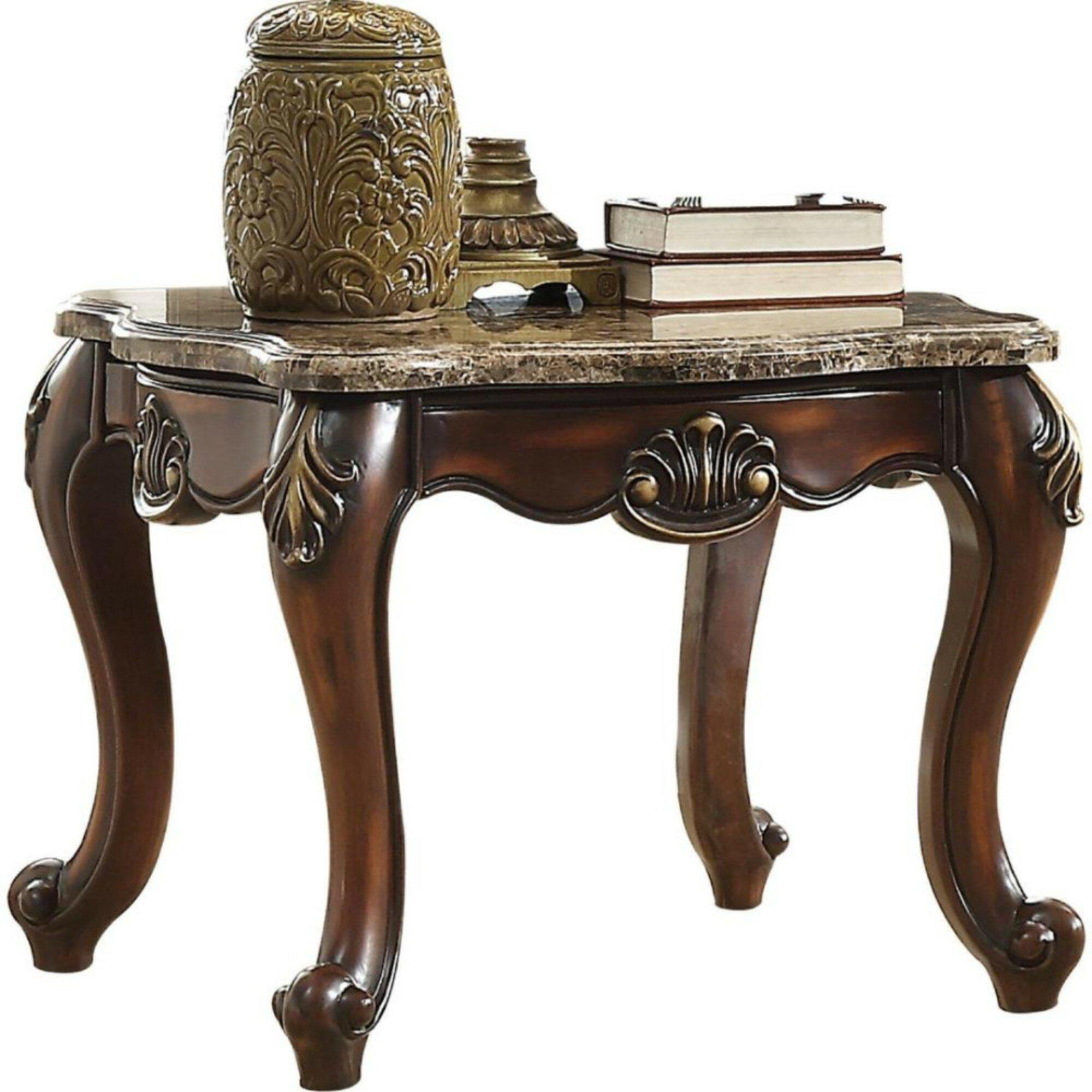 Astoria Grand Sturges Marble Top Angular Wood Feet End Table Wayfair