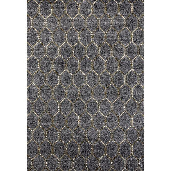 Ivy Bronx Dossantos Geometric Gray Stain Resistant Indoor Outdoor