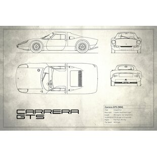 'Porsche (904) Carrera GTS' Graphic Art Print on Canvas in Vintage Silver By East Urban Home