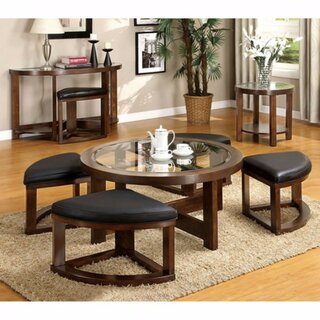 Wellkamp Wooden Coffee Table with 4 Ottomans by Red Barrel Studio SKU:DD370449 Reviews